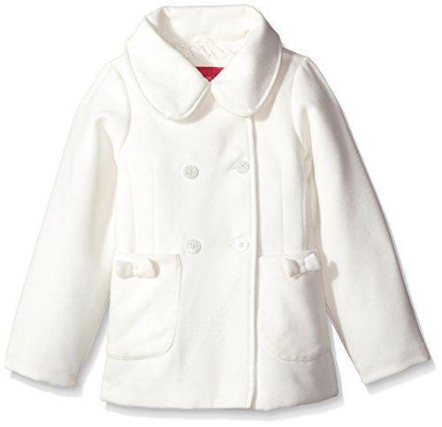 London Fog Little Girls' Bow Pocket Faux Wool Peacoat, Ivory, 5/6 – Jug of Milk