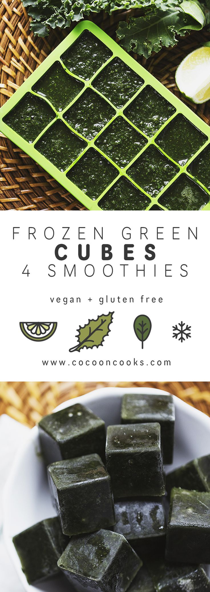 Frozen Green Cubes for Smoothies