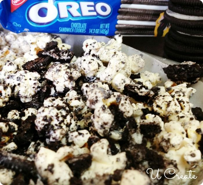 "How to Make OREO Popcorn - delicious! Don't have to use Oreos - can be ""healthy"" and use Newman's own, or another organic ""oreo"" alternative"
