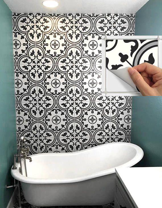 Tile Sticker Kitchen Bath Floor Wall Waterproof Removable Peel
