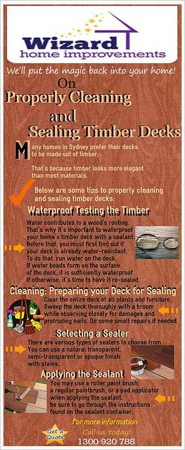 Many homes in Sydney prefer their decks to be made out of timber. That's because timber looks more elegant than most materials. As for the kind of timber used for decking, the most common is treated pine  For further information on maintaining your timber deck, call Wizard Home Improvements today on 1300 920 788. By Kevin Pobjie