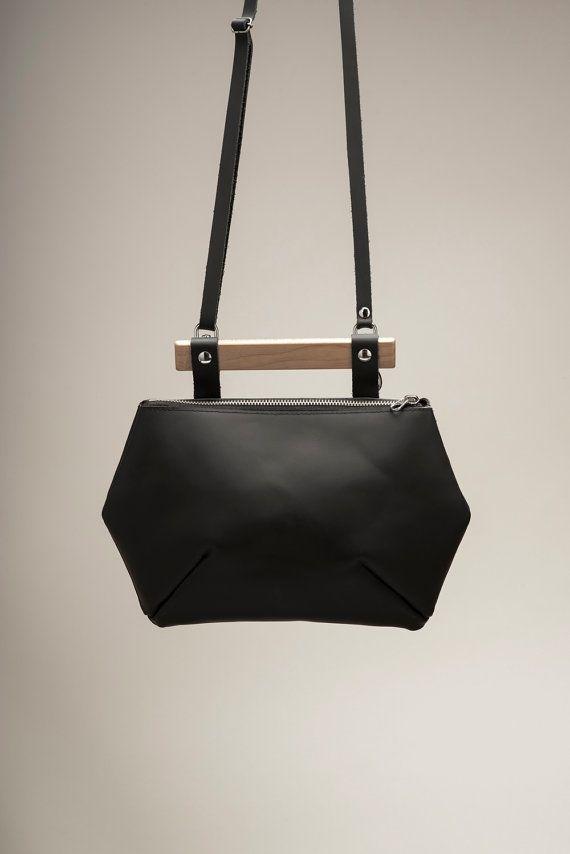 Sac à main en cuir noir / sac en cuir / sacoche en cuir par VEINAGE