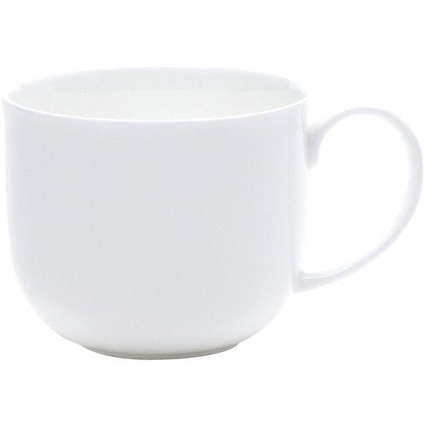 Set of 4 Bone China Mugs, White - Mugs + Teacups > Coffee Mugs ($56) ❤ liked on Polyvore featuring home, kitchen & dining, drinkware, white bone china, bone china, set of 4 coffee mugs, white tea cups and set of 4 mugs