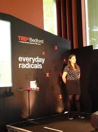 Our Becky at TedxBedford speaking on Power, Passion, Purpose and Pants