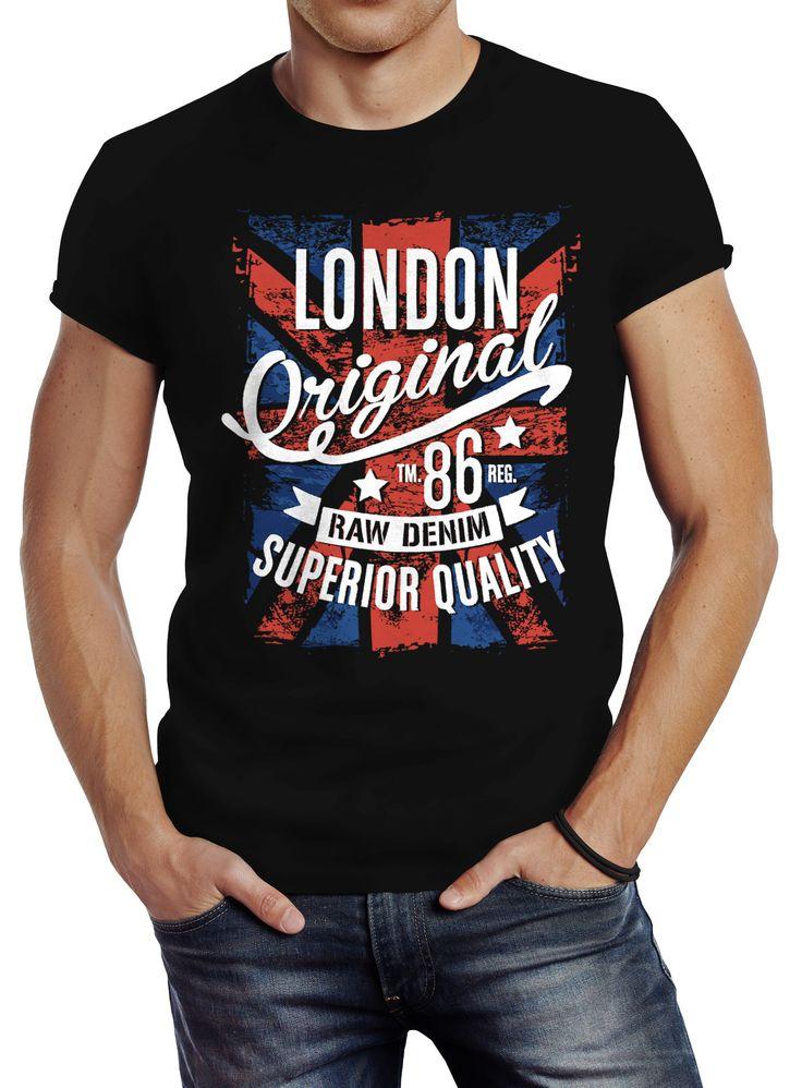 Herren T-Shirt London Vintage England Großbritannien UK Flagge Slim Fit Neverless®