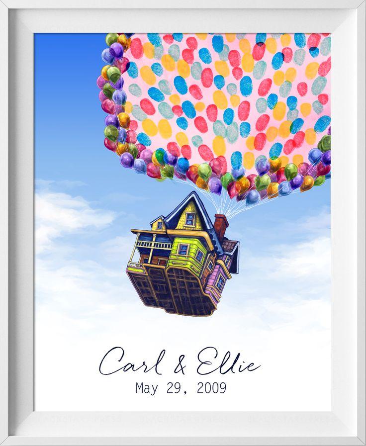 Disney-Pixar Up House, Wedding Guestbook, Fingerprint tree, thumbprint guest book