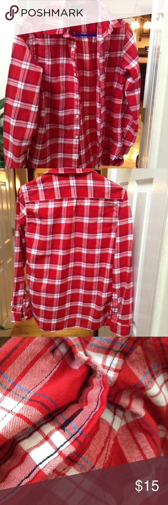 ✨Unisex Tommy Hilfiger Red Plaid Button Down✨ ✨Vibrant Red Plaid Shirt✨Long Sleeves✨💯Cotton✨Boys Size XL✨Or Unisex* Girls / Small Women's can pair w/ leggings, jeans.. Tommy Hilfiger Shirts & Tops Button Down Shirts