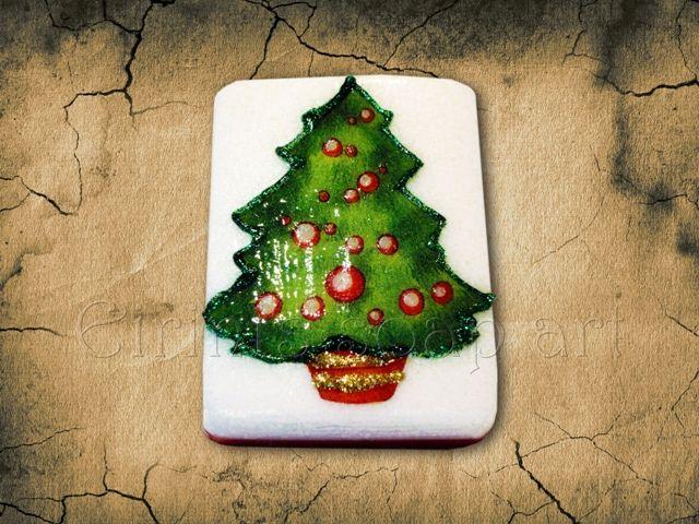 Christmas Tree decoupage soap