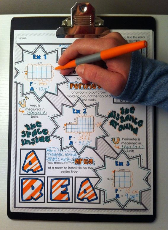 """Area and Perimeter """"Doodle Notes"""" - Requires right and left brain communication, which improves learning, memory, and focus!"""