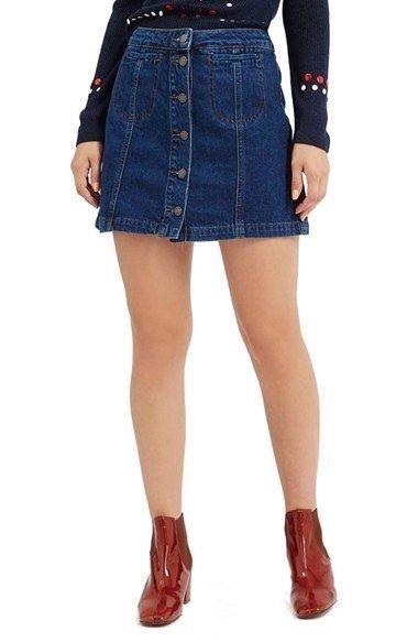 34479250d3 Topshop Moto Blue, Button Down, A-line, Denim Skirt Size 10   eBay ...