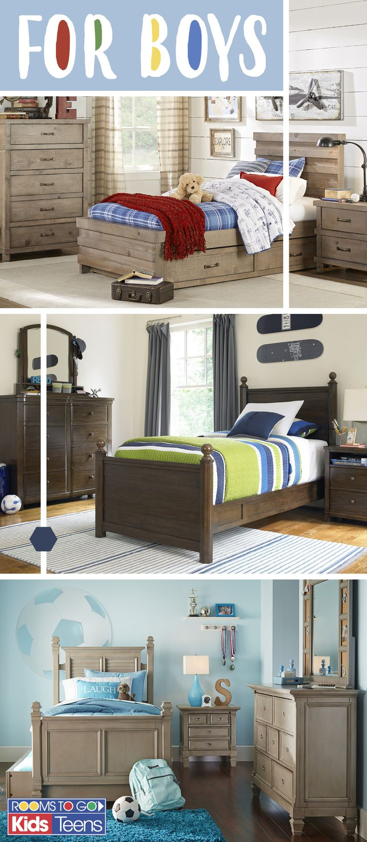 With decorator inspired room sets that come in a range of colors, styles and sizes, Rooms To Go Kids makes finding the perfect bed for your little boy or teen easy and fun! Visit Rooms To Go Kids now to see these cool boys' bedroom sets and more!