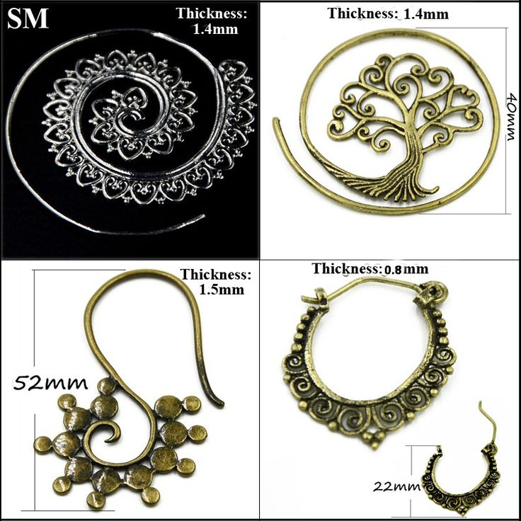 SHUIMEI  2Pcs Brass Copper Tribal Indian Spiral Earring Stud Tree Of Life Vintage Style Hoop Body Jewelry piercing Charming New