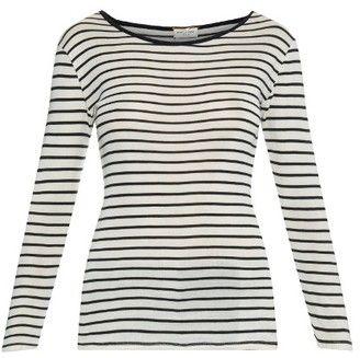 SAINT LAURENT Breton-stripe fine-knit silk T-shirt - Shop for women's T-shirt - BLACK BEIGE T-shirt