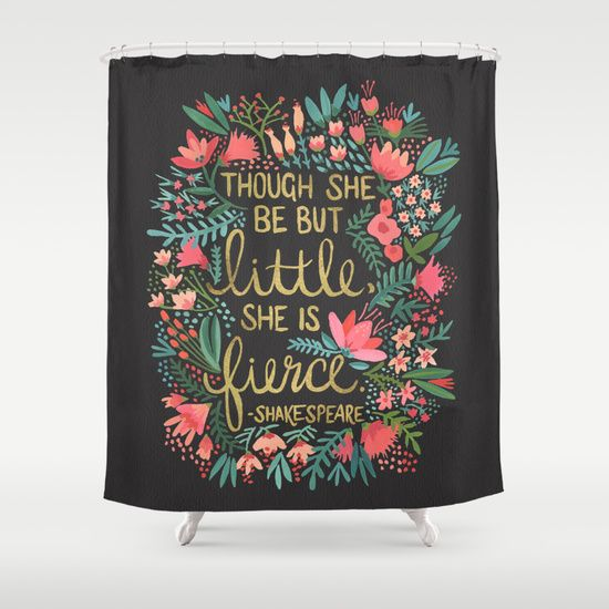 Little+&+Fierce+on+Charcoal+Shower+Curtain+by+Cat+Coquillette+-+$68.00