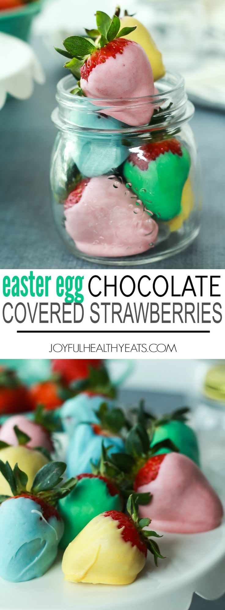 .~Easter Egg Chocolate Covered Strawberries Recipe using three ingredients - a fun festive dessert to make with your kids for Easter! | joyfulhealthyeats.com #eastereggcrafts~.