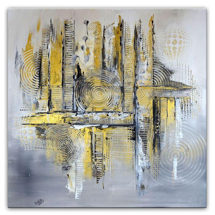 BURGSTALLER Original Gemälde Silber gold grau abstraktes Wandbild Gemälde modern #abstraktekunst #abstractpainting #artwork #abstract #abstrakt #gemäldeabstrakt