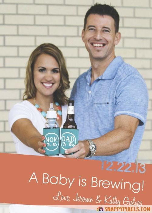 Creative, Funny Baby Announcements – I love this..wish I'd have seen it before we did our announcement....well I guess if we decide to have a 2nd we could use the first kid with a sippy cup. And I'd have a water bottle instead of a baby bottle in my koozie.