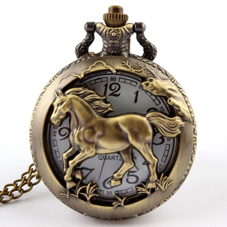 Free shipping Bronze horse Hollow Quartz Pocket Watch Necklace Pendant Womens Men GIfts P247 #women, #men, #hats, #watches, #belts, #fashion, #style