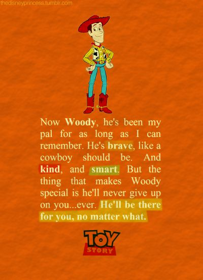 I totally just teared up reading this and remembering Andy saying all this to Bonnie (but really talking to Woody) love all three of the Toy Story movies more than anyone will ever know!