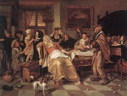 Jan Steen, het driekoningenfeest, 1668, gemaakt in:  genre: genreschilderkunst (dagelijkse taferelen) Hier zie je hoe het er rond 1670 in de Nederlanden aan toe ging, het ziet eruit als een gezellige boel, waarin voortdurend beweging was. Dit komt door de assymetrische compositie en de onnatuurlijke houdingen waaruit je kan zien dat ze druk in de weer waren.
