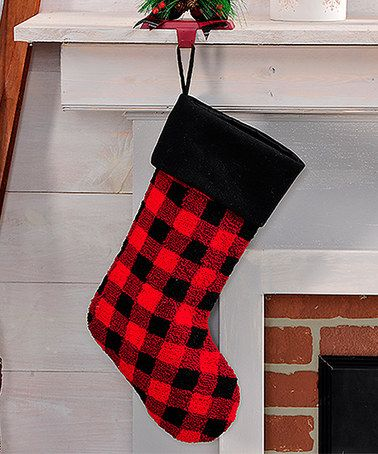 This Buffalo Check Plaid Christmas Stocking is perfect! #zulilyfinds