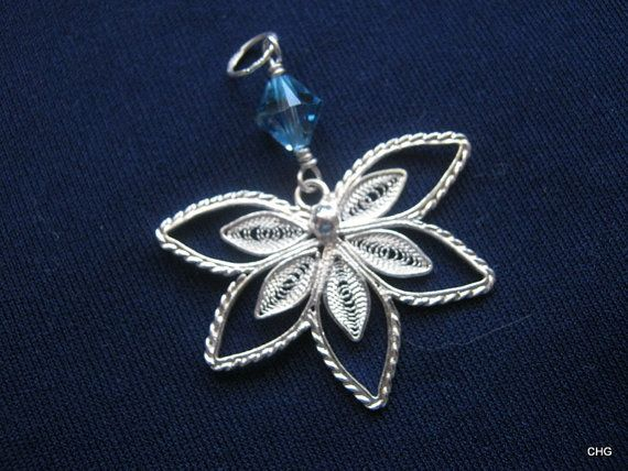 Handmade Sterling Silver Five Petals Filigree Pendant by TrulyFiligree, $30.50