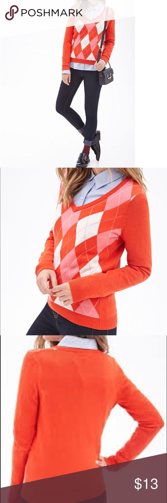 Forever 21 Argyle Sweater Preppy and trendy red argyle sweater. Great condition, only worn a few times. Feel free to make an offer using the offer tab❣️ Forever 21 Sweaters V-Necks