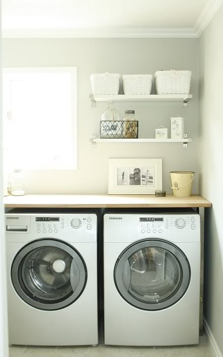 laundry. laundry. laundry.Open Shelves, Countertops, Vinyls Letters, Room Ideas, Laundry Area, Laundry Rooms, Small Spaces, Gray Wall, Laundryroom