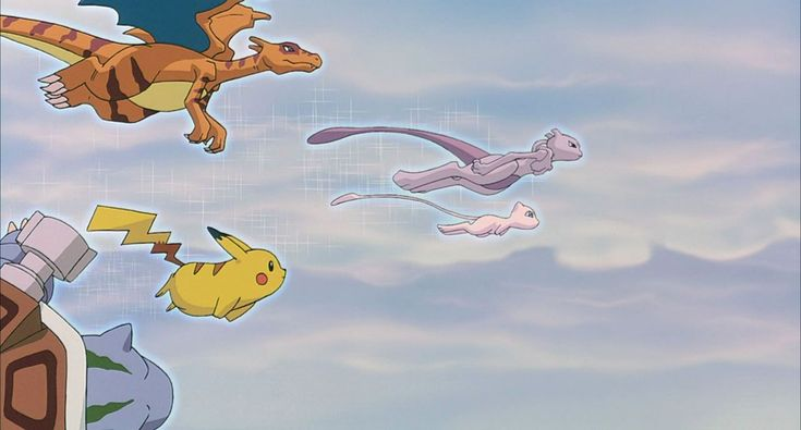 #Mew along with #Mewtwo and the cloned #Pokemon fly off together. http://www.pokemondungeon.com/movies/pokemon-the-first-movie-mewtwo-strikes-back