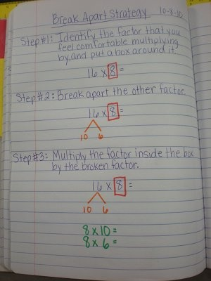 notes for break apart strategy for math notebook