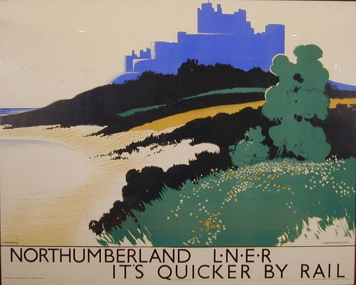 Vintage Railway Travel Poster  -Northumberland - L.N.E.R. Poster, Tom Purvis - England.
