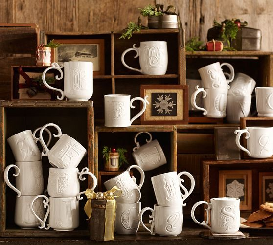 these cool Alphabet Mugs from Pottery Barn feature a different font and handle for each letter. saw them in the store today and they're fantastic!
