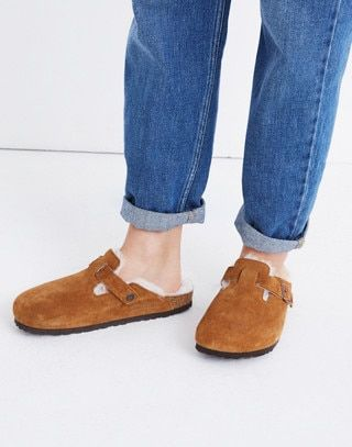 7fb6efab60 Birkenstock® Suede Boston Clogs in Shearling in mink natural image 2