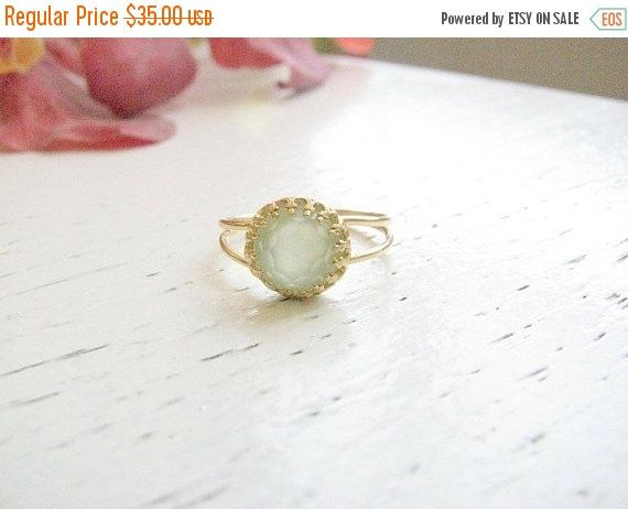 BLACK FRIDAY SALE  Jade ring  Gold ring  Green by MoonliDesigns
