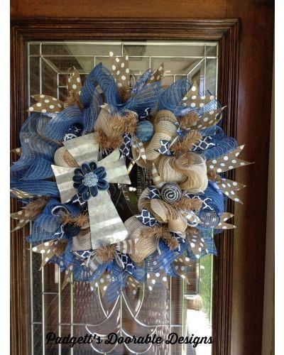 Blue Denim Cross Wreath | CraftOutlet.com Photo Contest - Padgett's Doorable Designs