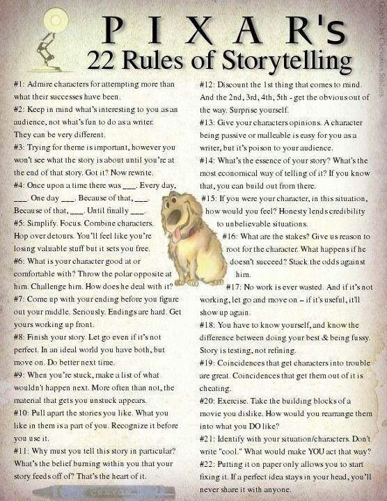 "Pixar's Storytelling 22 Rules | Assume one is ""Main character doesn't think he needs friends, discovers the value of friendship, grows and accomplishes his goal."""