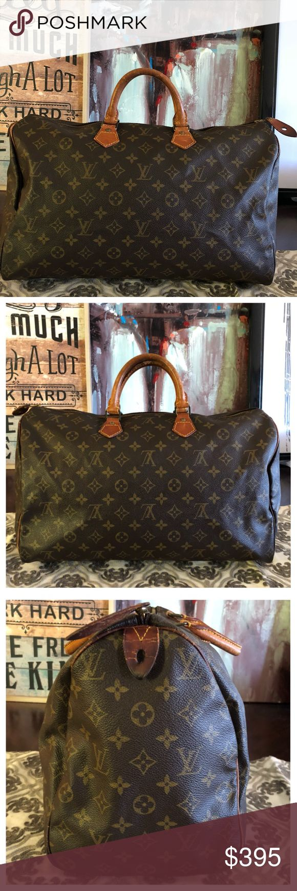 """AUTHENTIC LOUIS VUITTON SPEEDY 40 100% Authentic Louis Vuitton Speedy 40. The largest size. Perfect for traveling or every day use. Roomy. Monogram canvas has no scratches or tears. Handles show wear and scratches. Piping is good in corners 👍🏼Hardware has tarnished. Zipper works properly. Inside and pocket is in good condition. W15.7""""x H9.85""""xD7.48"""" Date code VI871 No trades Louis Vuitton Bags Satchels"""