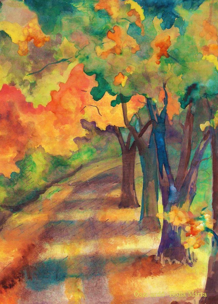 Autumn forest - Őszi erdő - Akvarell, 21 x 29 cm - By Márta Bolla - Hungary