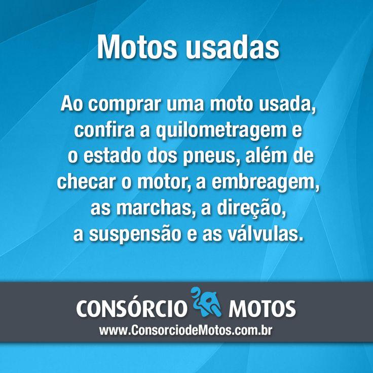 #DicasParaMotos Boa tarde! Confira mais algumas dicas antes de comprar uma moto usada ou seminova: https://www.consorciodemotos.com.br/noticias/dicas-para-comprar-motos-usadas?idcampanha=288&utm_source=Pinterest&utm_medium=Perfil&utm_campaign=redessociais