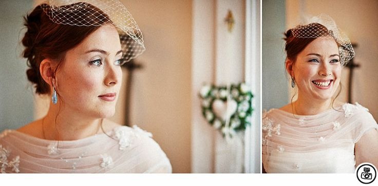 Professionelles Brautstyling, Braut Make up, Bridal Make up, bride with fascinator, Brautfrisur mit Haarnetz