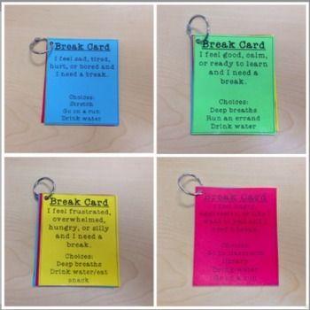 ZONES OF REGULATION BREAK CARDS - TeachersPayTeachers.com