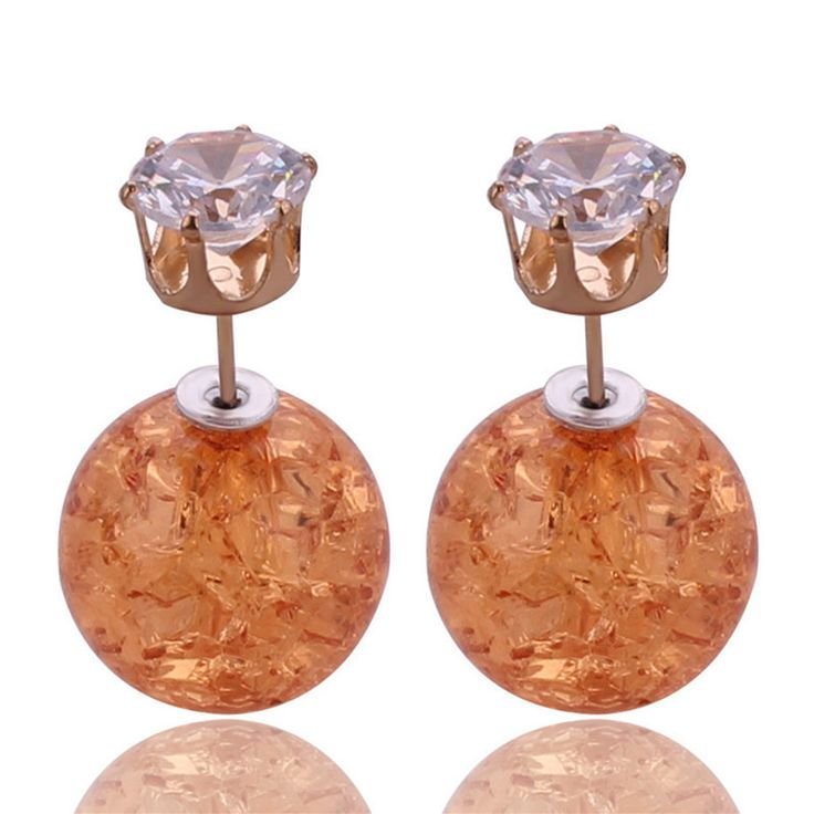 9 Farben Neue Einzigartige Design Riss Fashion-doppelt-seiten-perlen-bolzen-ohrringe ohrringe Leuchtenden Kristall Krone Big Ball Ohrringe Für Frauen Party Brincos
