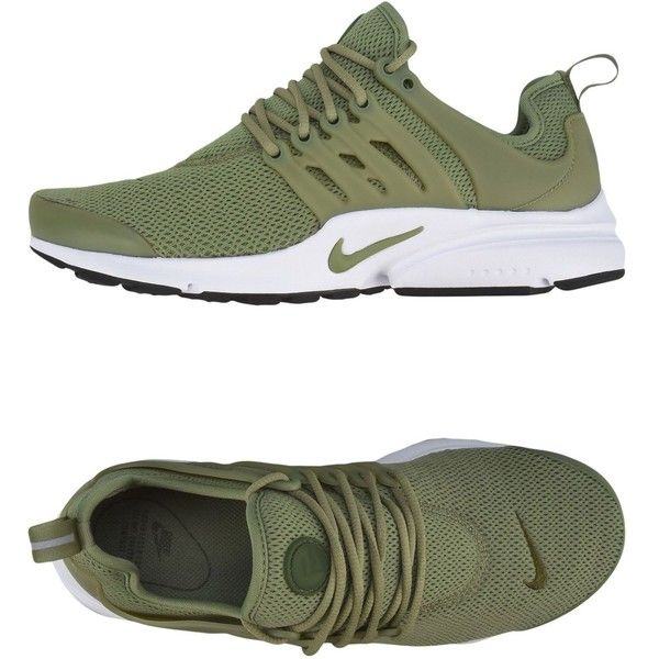 Nike Low-tops & Sneakers ($115) ❤ liked on Polyvore featuring shoes, sneakers, military green, round toe flat shoes, low profile sneakers, rubber sole shoes, round cap and low top