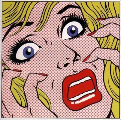scared pop art comic book lady