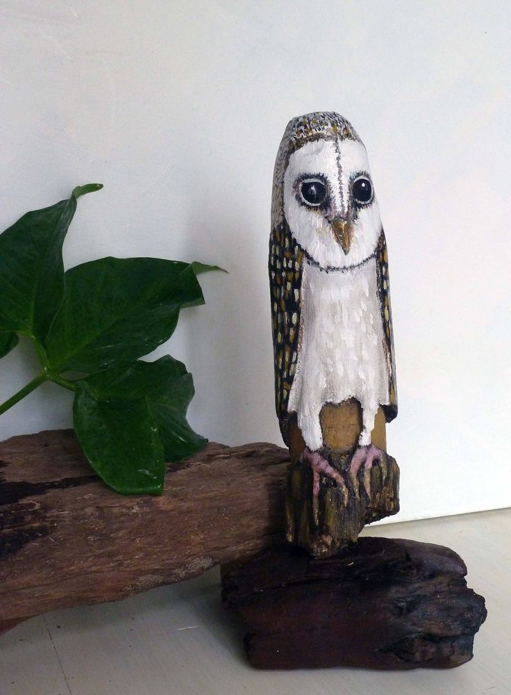 Hand-painted Driftwood sculpture, Australian Masked Owl, original, bird lover gift,Nature, home decor, wood art, great gift, timber figurine by ArtiSueBee on Etsy