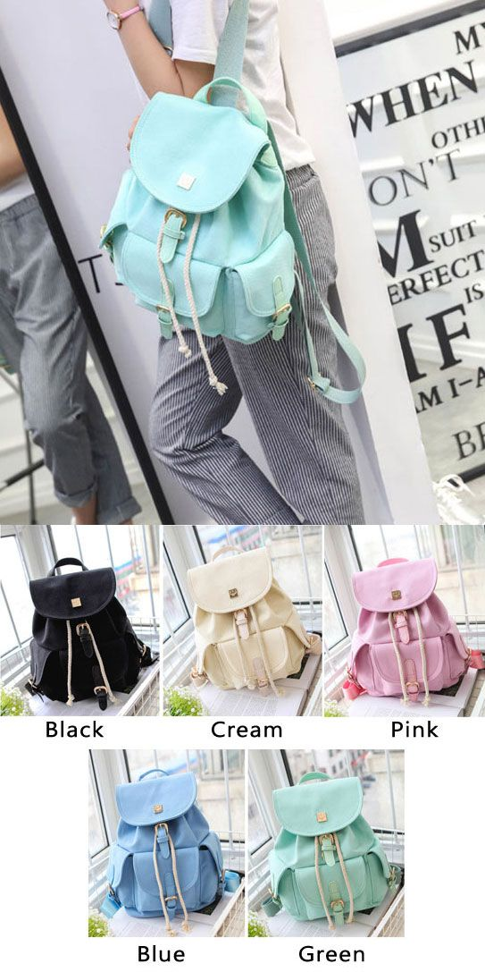 Sweet Candy Canvas College Rucksack Mint Green Pure Color Girls Backpack #green #school #student #college #fashion #sweet #backpack #Bag #canvas #rucksack #travel