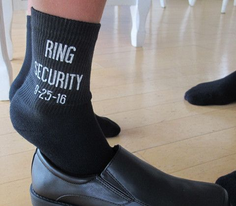 Ring Bearer Wedding Socks - Black Cotton Crew Socks. This fun design for ring bearers is printed on our black crew socks and makes a great wedding attire accessory and gift!    Please include wedding date in the notes section at checkout.  Orders with missing information will take longer to process.  This black crew sock is available in 3 sizes. Small, Med and Large.