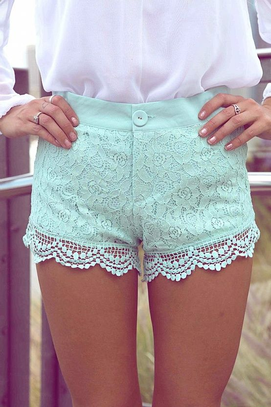 Mint lace shorts. perfect<3