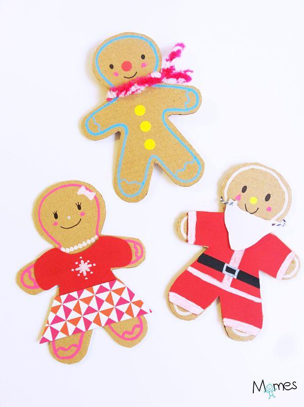Diy Noël : Des bonhommes de pain d'épices en carton pour décorer le sapin de noël !