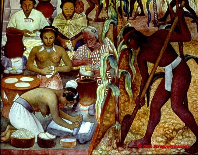 Diego Rivera Mural 'Maize' in Mexico City's National Palace courtesy of Mexicolore